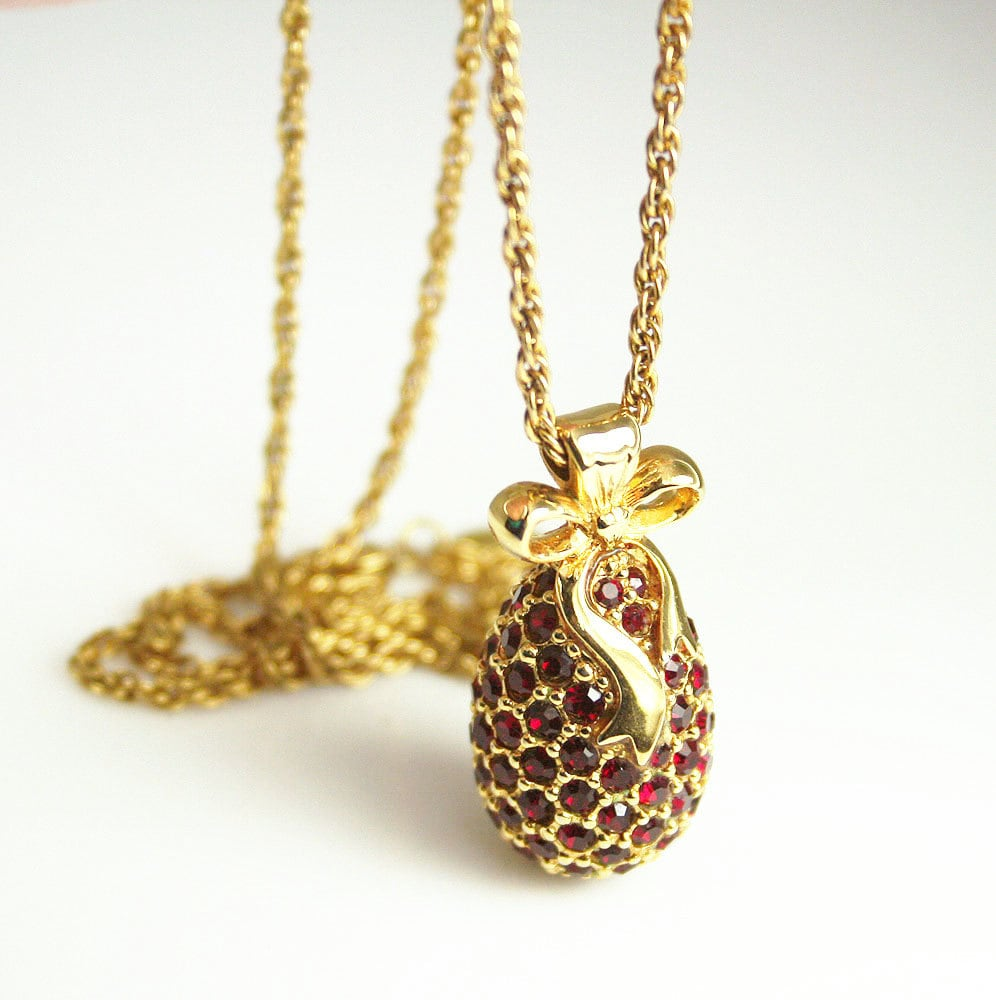Vintage Joan Rivers Ruby Red Rhinestone Faberge Egg Pendant