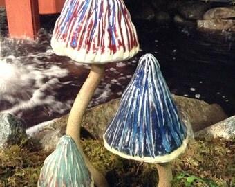 Garden Mushrooms in Red, Blue and Bluegreen