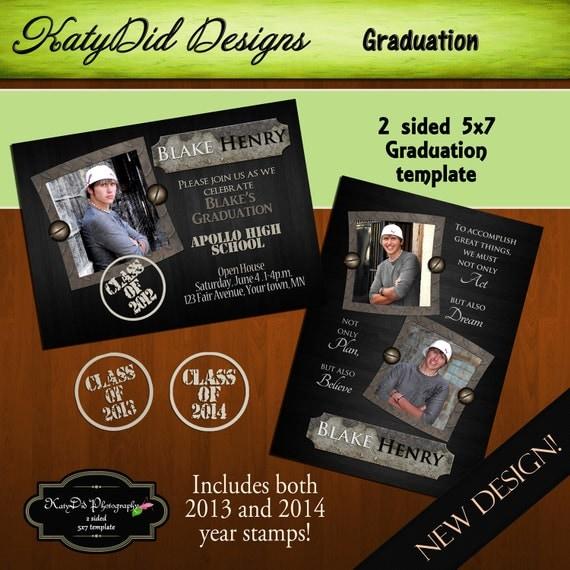 INSTANT DOWNLOAD  Black Rebar 5x7 Senior Graduation Announcement Templates/PSD files
