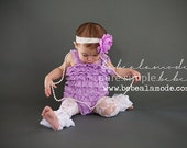 White lace ruffle leg warmers with Pink Satin Bow 12m - 2T