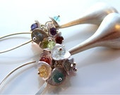 Sterling Silver Long Drop Earrings . Blue Topaz . Pink Topaz . Amethyst . Labradorite . Peridot . Garnet . Citrine . Iolite . Apatite