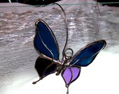 Small Purple Iridescent and Blue Stained Glass Butterfly Garden Stake Topper