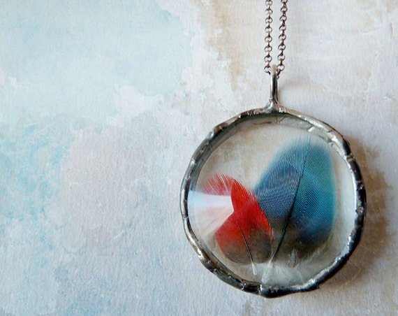 Feather Necklace. Sterling Silver Chain. Genuine Red Blue Macaw Parrot Tribal Feather Jewelry. Fall Fashion