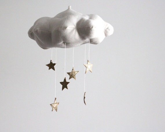 Gold Star Cloud Mobile - On Cover of Today's Parent - modern fabric sculpture baby nursery decor in linen and metallic faux gold leather