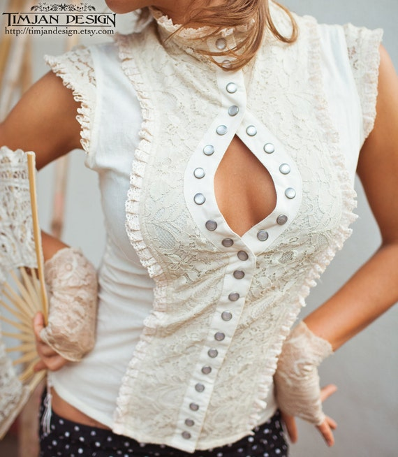 White Steampunk Blouse 31