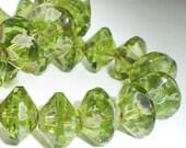 Peridot Green Saucer Beads Picasso Czech Glass Beads 13x9mm Faceted 8 pcs S-008