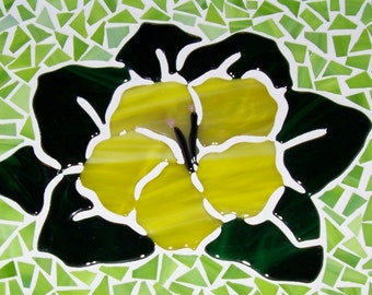 Mosaic, Flower Hibiscus Glass, Fused Glass,
