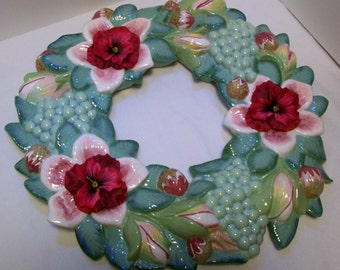 Wreath,Grapes, Flowers,  Seagreen, Ceramic Wreath, On Sale, Was 34.99 Now 29.99