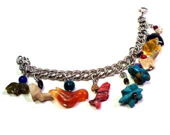 STERLING SILVER Charm Bracelet Vintage 70s Native American Fetish Gemstone Animal Charms