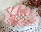 New: Pearlynn Collection - 2 pcs Silk Chiffon Fabric Flowers with Pearls - BABY PEACH floral embellishments Layered Bouquet flowers
