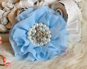 New: Reilly Collection, 2 pcs BABY BLUE Soft Chiffon Ruffled Fabric Flowers w/ Rhinestones Pearls - Layered Bouquet fabric flowers