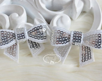 New to the Shop: Set of 4 SILVER WHITE Mini Sequin Bow Appliques 2 inch size