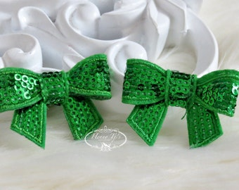New to the Shop: Set of 4 GRASS Green Mini Sequin Bow Appliques 2 inch size. Sequin Bow Knot Applique. DIY Supplies.