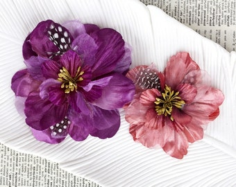 NEW: Prima Firebird - Plum 566494 fabric flowers with guine feathers and stamen (2 pcs) for Corsages, floral supply