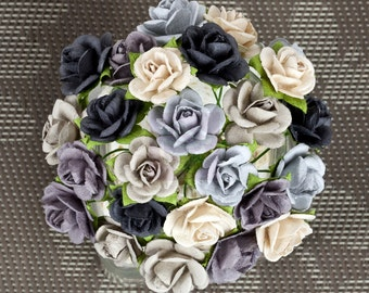 "NEW: Prima Mini Sachet ""Winter"" Monochrome Shades Flowers 565992 Mini Mulberry Paper Roses Bud in wire embellishments decoration Wedding"