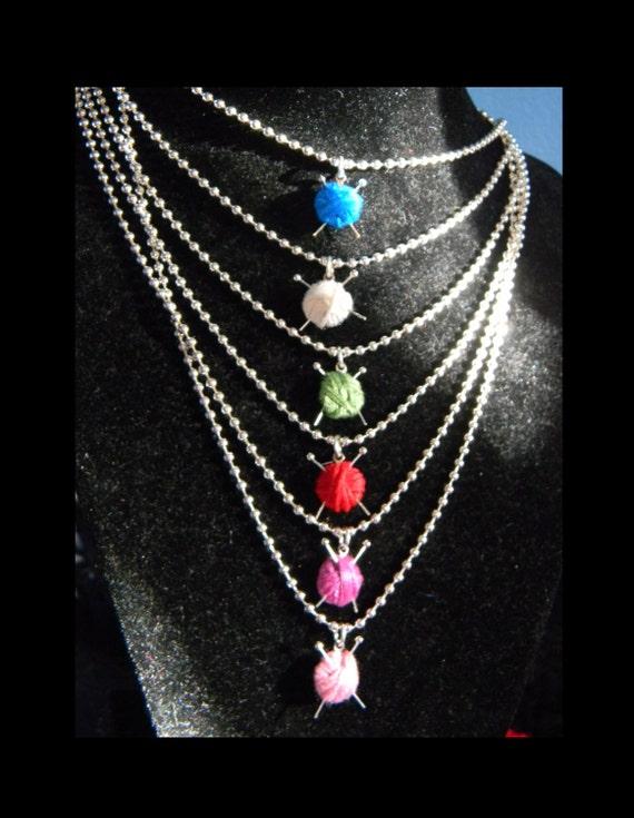 Knitting Needle Gauge Necklace : Knitting necklace yarn ball mini needle