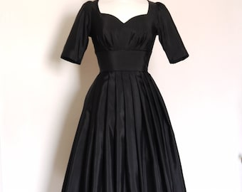 Black Grosgrain Cupid's Bow Vintage Style Evening Dress - Made by Dig For Victory