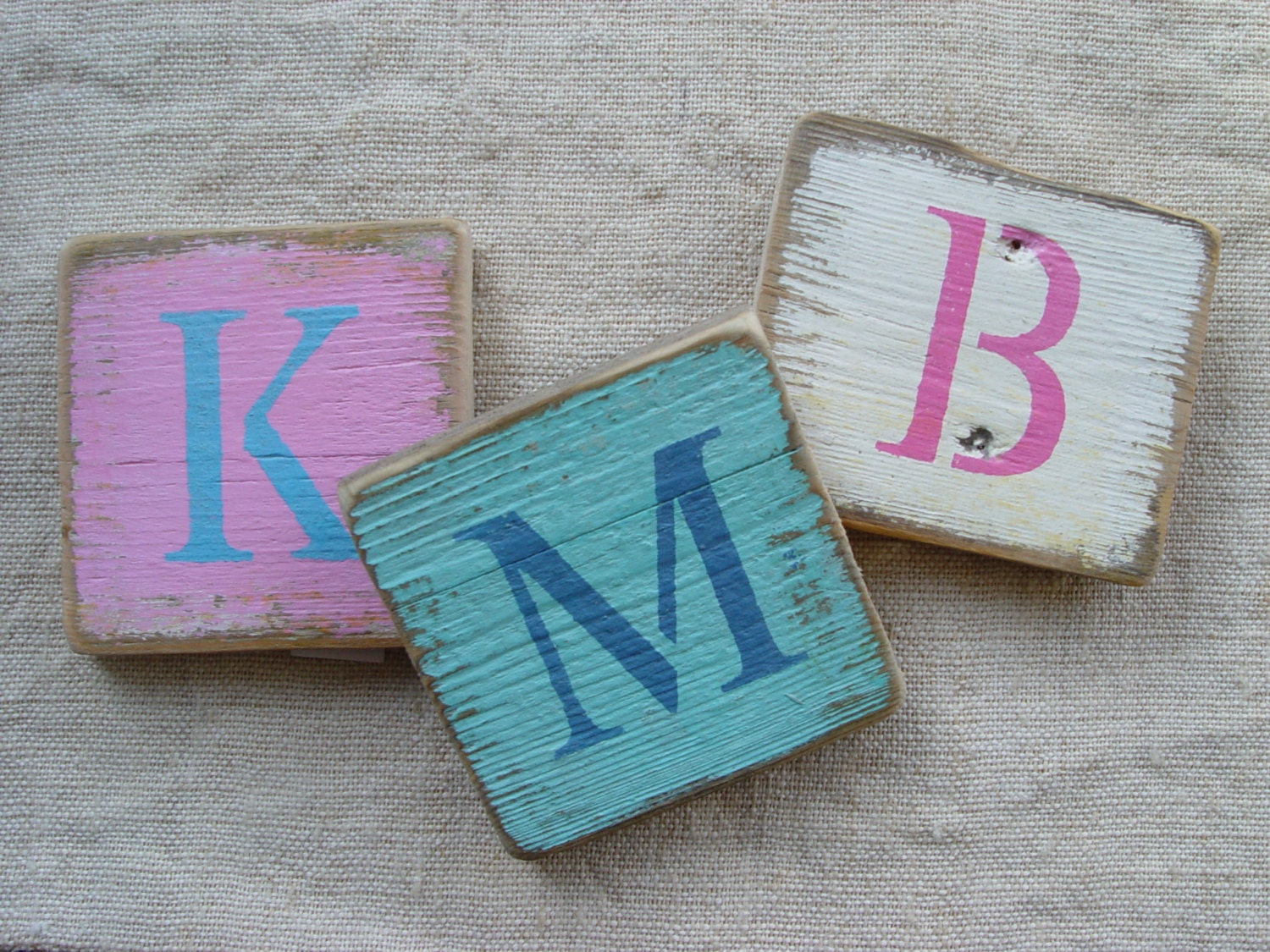 3 Shabby Chic Letters On Reclaimed Wood Monogram/Initial
