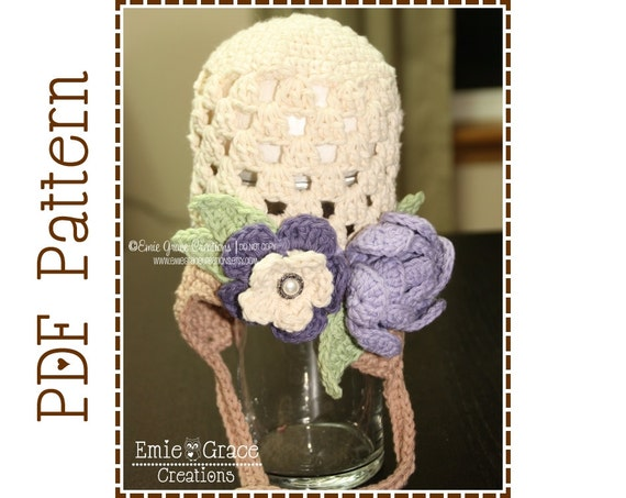 Flower Hat Crochet Pattern, 8 Sizes from Newborn to Adult, BROOKE - pdf 201