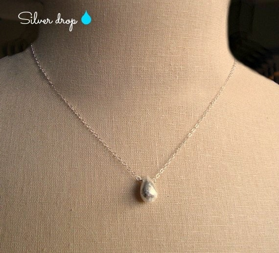 silver drop - brushed thai silver pendant - 99% silver - sterling silver chain - simple everyday jewelry