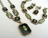 reduced for Final Sale Art Deco Parure Black Onyx Enamel Set