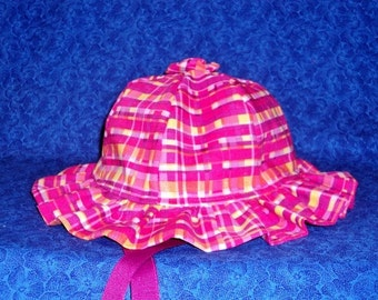 Baby Sun Hat Hot Pink Plaid