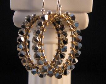Silver Hoop Crystal Earrings,silver earrings, crystal earrings, hoop earrings, wrapped earrings, swarovski crystal earrings