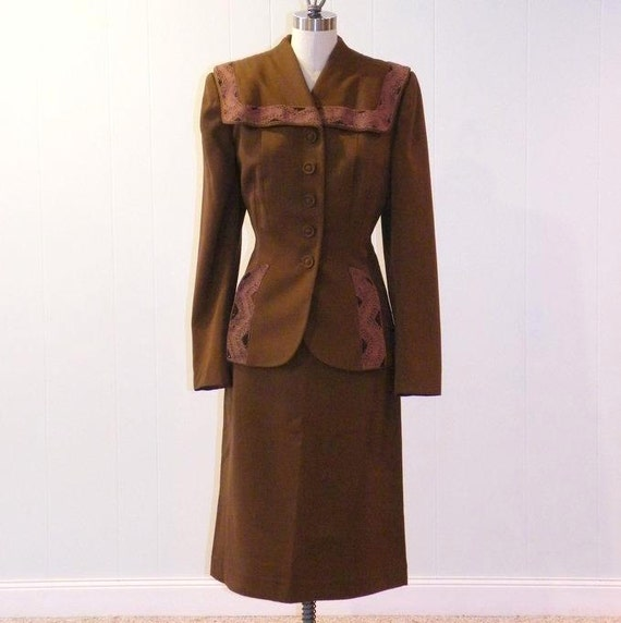 1940s Gabardine Suit, 40s Skirt Suit, Beaded Brown Fit-n-Flare Peplum Blazer Suit, Silk Soutache Trim, Vintage Hourglass Suit Youthmore
