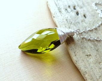 Earthy Jewelry, Olive Green Crystal Pendant Necklace, Wire Wrapped Swarovski Navette Teardrop, Sterling Silver Necklace, Fashion