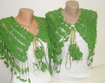Green Wedding Shawl - Green Wedding Capelet - Green Shawl - Green Capelet - Unique Bridesmaids Gifts