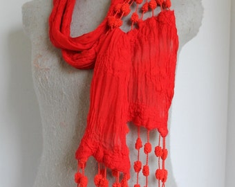 Red Nuno Felted Scarf- OOAK- Great Christmas  Gift