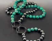 SALE Amazonite and Hematite Hoopla Necklace