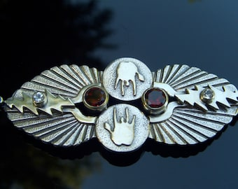Double Wing Pendant - Radiant Design - 6 Gem Model - Red, White, and Blue - Garnet, Topaz, Sapphire