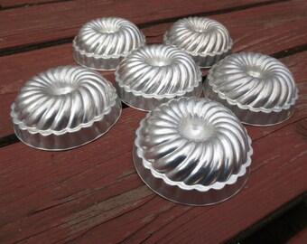 6 Small Aluminum Vintage Jello Molds