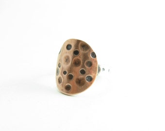 Moon Crater Ring Copper Sterling Silver Dots Rings Handmade Metalwork Ring Jewelry