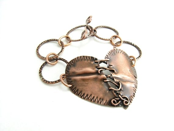 Stitched Heart Copper Metal Bracelet Handmade Metal Jewelry