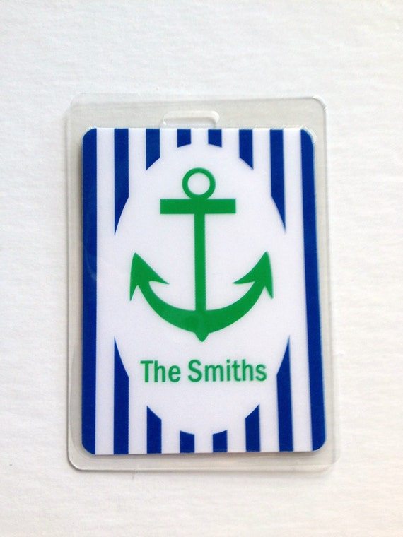 Nautical Bag Tag Nautical Baby Shower Favor Nautical Name Tag