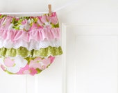 Ruffle Butt Diaper Cover Bloomer- Pink and Green Vintage Watercolor Floral- 3m 6m 12m 18m- Baby Shower Gift- Baby Spring Fashion- Recycled - ChirpAndBloom