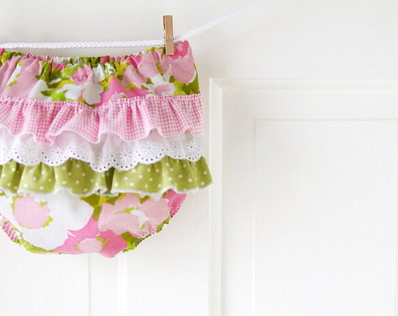 Ruffle Butt Diaper Cover Bloomer- Pink and Green Vintage Watercolor Floral- 3m 6m 12m 18m- Baby Shower Gift- Baby Spring Fashion- Recycled