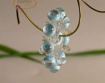 Sky Blue Lampwork Glass Beads, FREE SHIPPING, Handmade Bubble Disc Spacer Beads - Rachelartglass