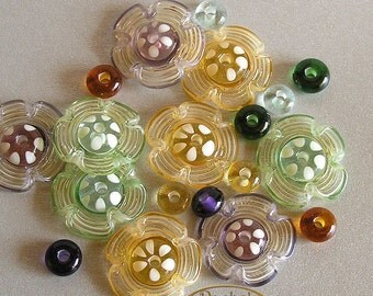 Lampwork Glass Beads Flowers, FREE SHIPPING,Handmade Flowers and Donuts Beads Set - Rachelcartglass