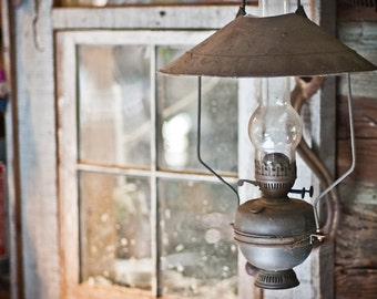 Rustic Lamp Window Photography old homestead ghost town pane beige barn rusty farm - By the lamplight - fine art photograph