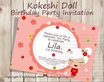 Kokeshi Doll Party Invitation - Japanese Girl- Printable digital file