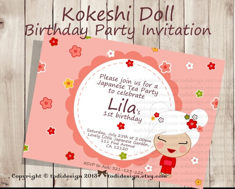 Kokeshi Doll Party Invitation Japanese Girl Printable - Birthday invitation in japanese