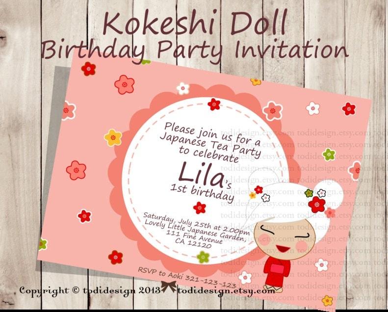 Kokeshi Doll Party Invitation Japanese Girl Printable - Birthday invitation in japanese