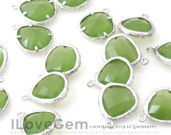 SALE/ 10pcs /  G0130 Rhodium plated, Apple Green, Glass fancy rosecut 13mm