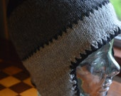 Hand Knit Wool Winter Hat with Ear-Flaps