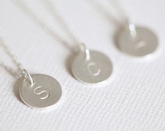 bridesmaid necklace, bridesmaid gift, monogram necklace, personalized gift - circle necklace sterling silver