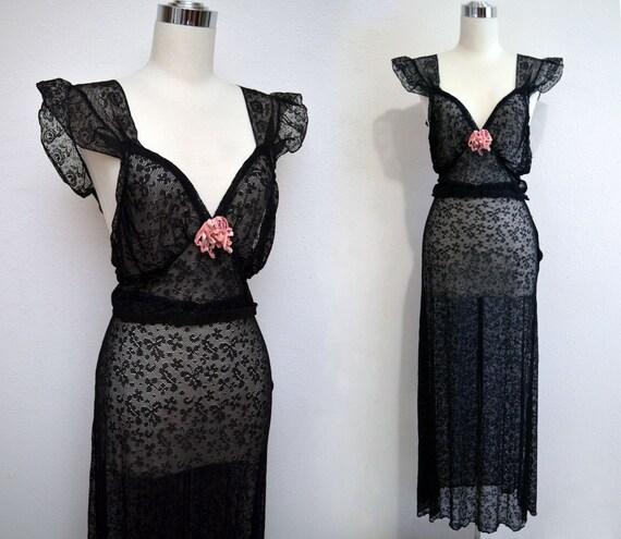 Vintage 30s Black Lace Lingerie Set // 1930s Skirt & Top by Beau Monde
