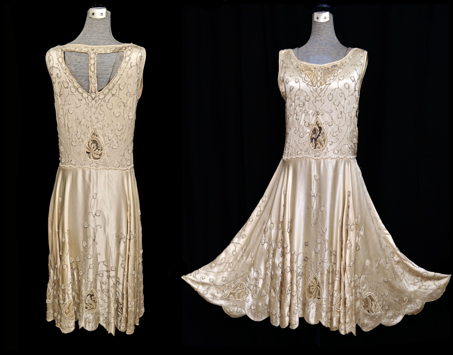 Vintage 20s dress 1920s beaded dress 20s flapper dress for Vintage 20s wedding dresses
